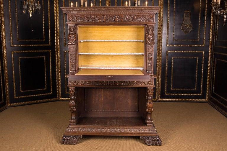 Oak Monumental Figurative Renaissance Bar Cabinet, circa 1880 For Sale
