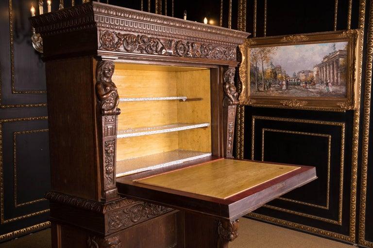 Monumental Figurative Renaissance Bar Cabinet, circa 1880 For Sale 1