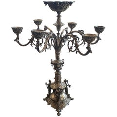 Monumental Fine Neoclassical 3 Figure English Silver Plated Epergne Candelabra