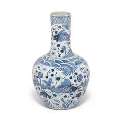 Monumental Fish and Flora Blue and White Gooseneck Vase