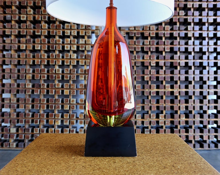 Monumental Flavio Poli for Seguso Murano glass table lamp.   The measurements include the shade.