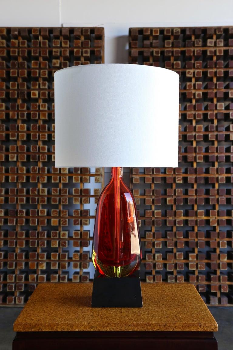 Italian Monumental Flavio Poli for Seguso Murano Glass Table Lamp For Sale