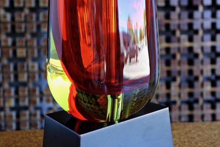 20th Century Monumental Flavio Poli for Seguso Murano Glass Table Lamp For Sale