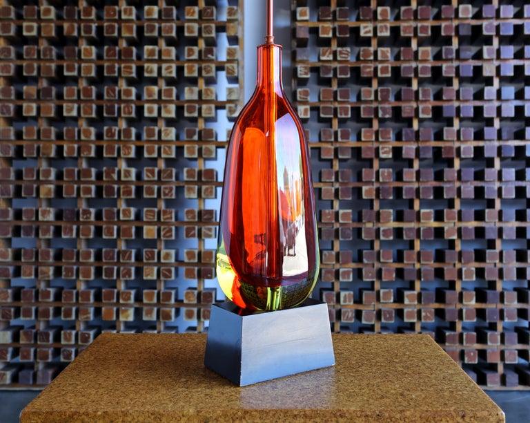 Linen Monumental Flavio Poli for Seguso Murano Glass Table Lamp For Sale