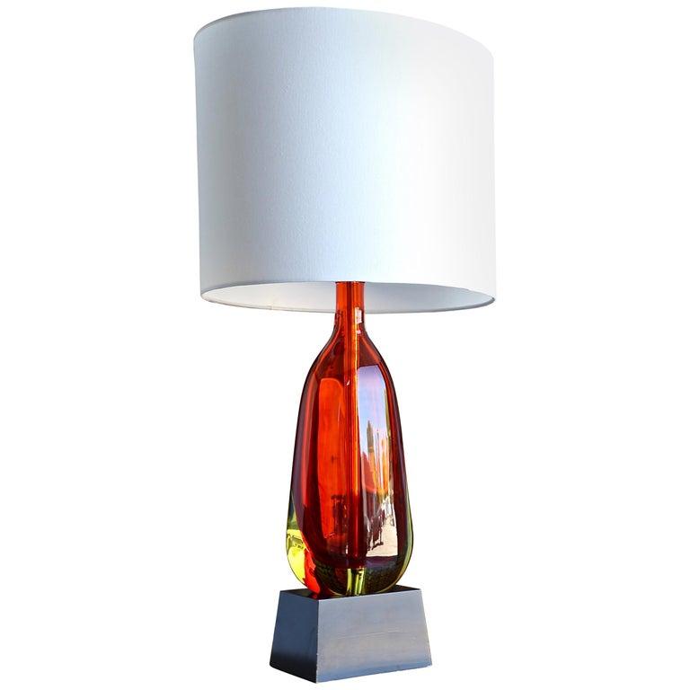 Monumental Flavio Poli for Seguso Murano Glass Table Lamp For Sale