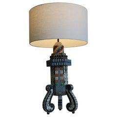 Monumental Folk Art Mosaic Lamp