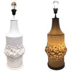 Monumental Fossil Shell Table Lamp Foot Bisque Porcelain, 1960s Kaiser Porcelain