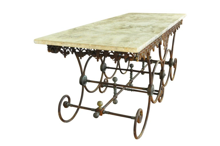 Monumental French 19th Century Butchers Table In Good Condition For Sale In Atlanta, GA