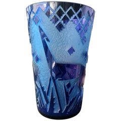 "Monumental French Art Deco Acid-Etched ""Fawn"" Vase by, Daum Nancy"