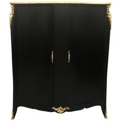 Monumental French Art Deco Ebonized Dry Bar Cabinet with Marble Top, 1940s