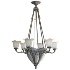 Monumental French Art Deco Six-Arm Chandelier Bronze with Frosted Glass