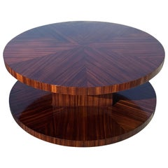 Monumental French Art Deco Sunburst Macassar Rotating Coffee Table
