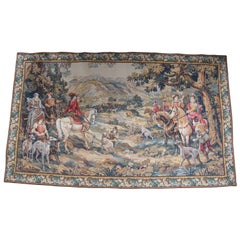 Monumental French Aubusson Royal Hunt Tapestry Hunting with Hounds C Detti