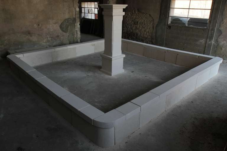 Very large monumental central fountain in limestone from France, handcrafted from 20th century. Louis XIII style.
