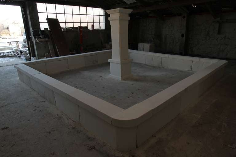 Hand-Crafted Monumental French Basin-Fountain Hand Carved in Limestone from France For Sale