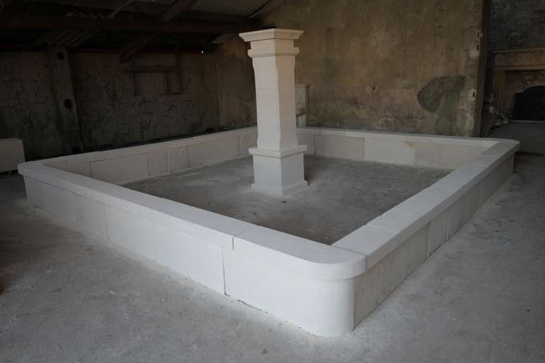 Monumental French Basin-Fountain Hand Carved in Limestone from France For Sale 2