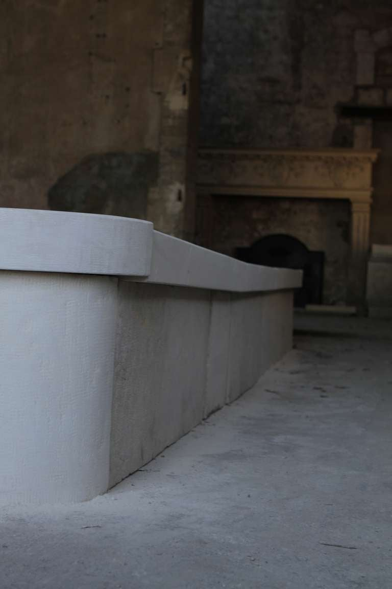 Monumental French Basin-Fountain Hand Carved in Limestone from France For Sale 3