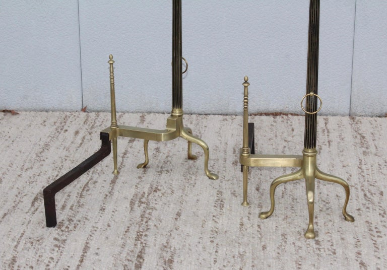 Monumental French Brass Andirons For Sale 4