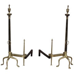 Monumental French Brass Andirons