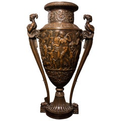 Monumental  French Bronze Neoclassical Figural Vase