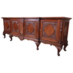 Monumental French Carved Mahogany and Burl Sideboard Credenza or Bar Cabinet