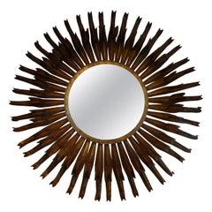 Monumental French Gilt Metal Sunburst Mirror
