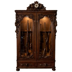 Monumental French Hunt-Style Gun Display Cabinet