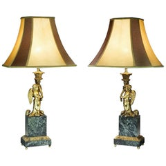 Monumental French Late 19th Century Marble and Ormolu Lamps