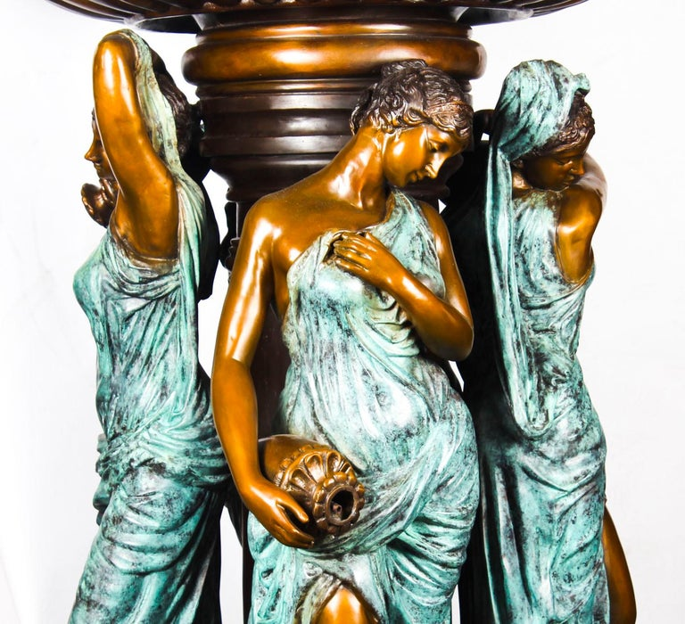 Monumental French Neoclassical Revival Bronze Sculptural Pond Fountain For Sale 8