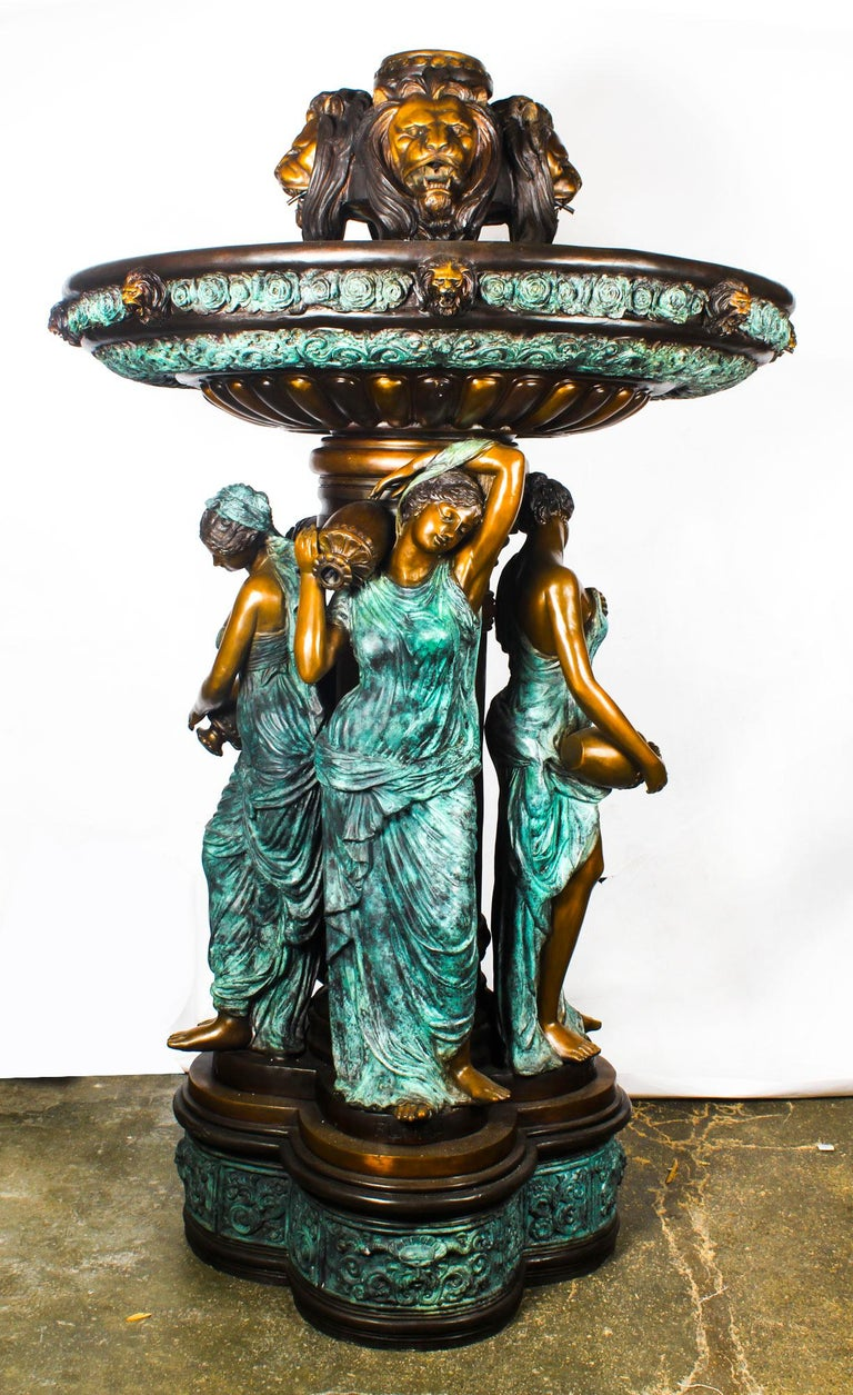 Monumental French Neoclassical Revival Bronze Sculptural Pond Fountain For Sale 9