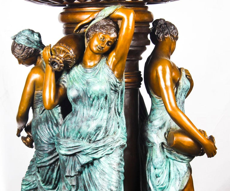 Monumental French Neoclassical Revival Bronze Sculptural Pond Fountain For Sale 11