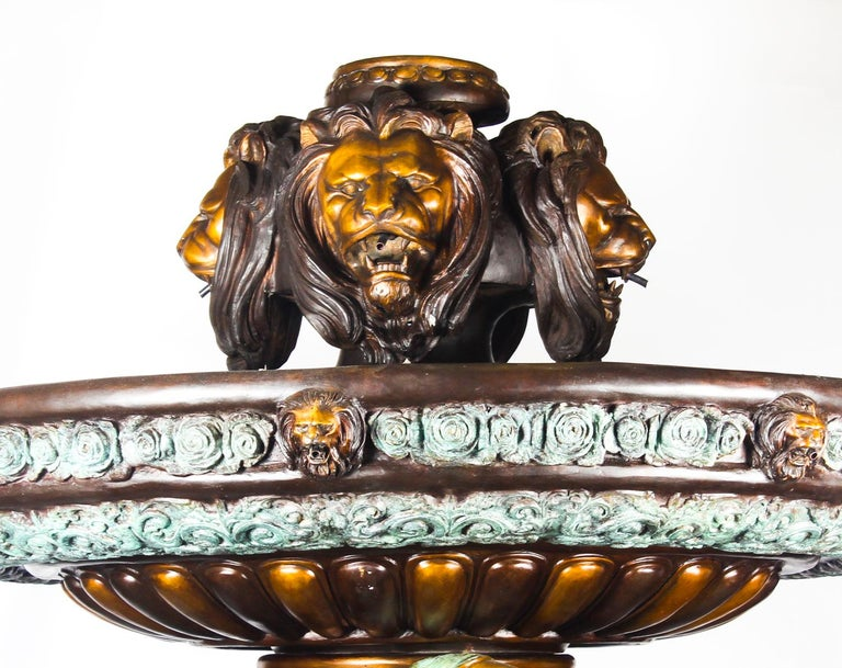 Monumental French Neoclassical Revival Bronze Sculptural Pond Fountain For Sale 12