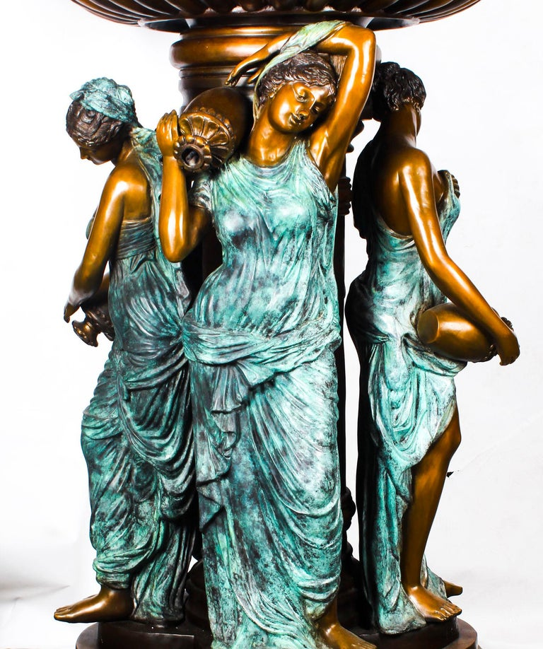 Monumental French Neoclassical Revival Bronze Sculptural Pond Fountain In Excellent Condition For Sale In London, GB