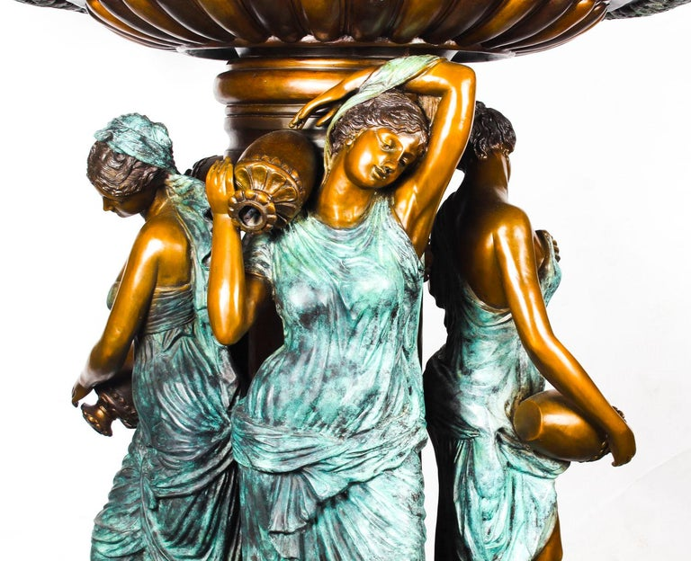 Late 20th Century Monumental French Neoclassical Revival Bronze Sculptural Pond Fountain For Sale