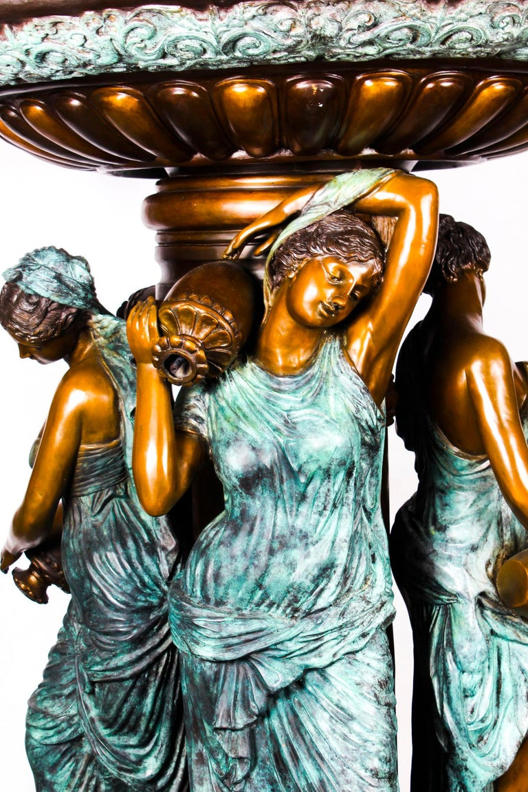 Monumental French Neoclassical Revival Bronze Sculptural Pond Fountain For Sale 1