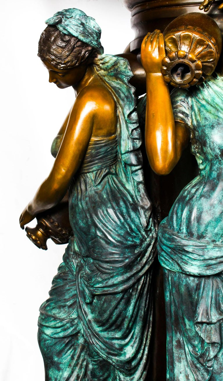 Monumental French Neoclassical Revival Bronze Sculptural Pond Fountain For Sale 3