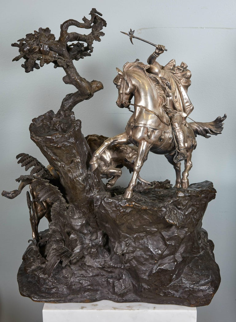 Monumental French Patinated and Silvered Bronze Figural Group of Soldier & Bull For Sale 6