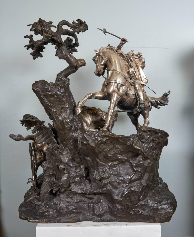 Monumental French Patinated and Silvered Bronze Figural Group of Soldier & Bull For Sale 7