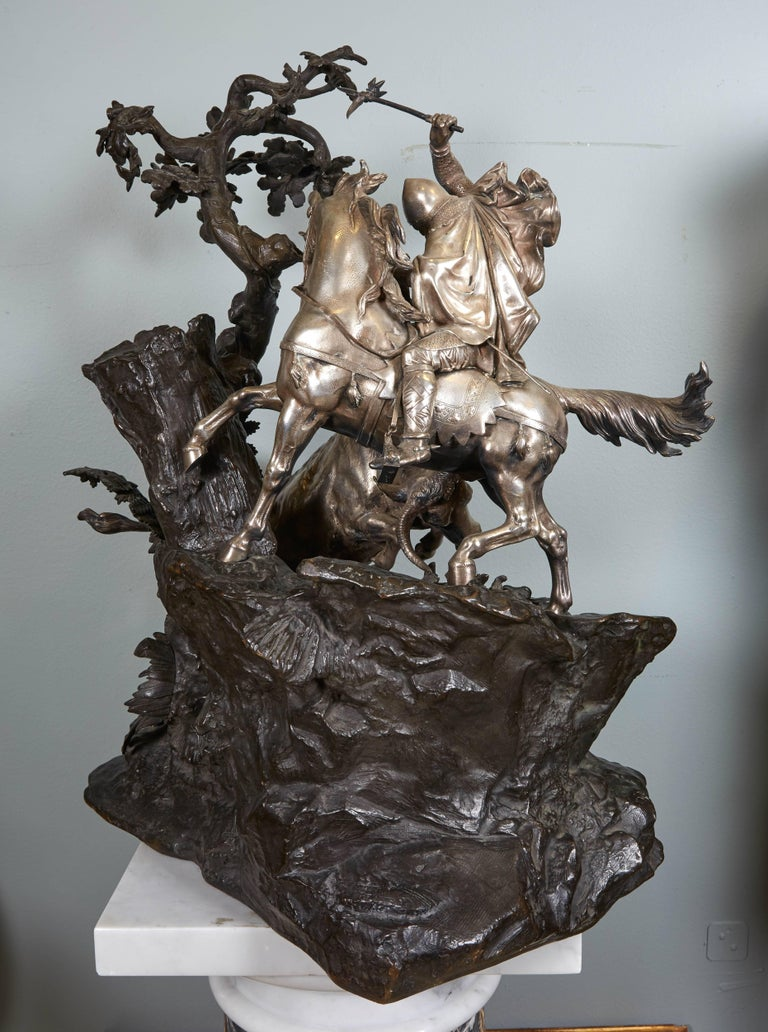 Monumental French Patinated and Silvered Bronze Figural Group of Soldier & Bull For Sale 10