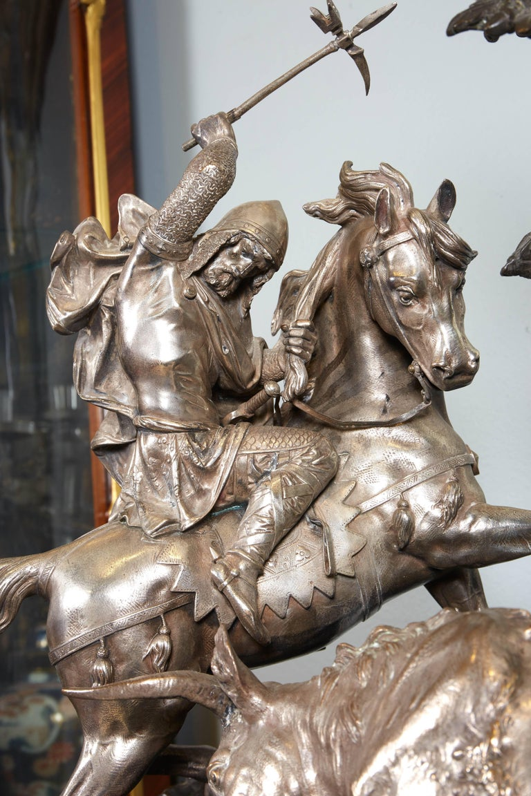 Napoleon III Monumental French Patinated and Silvered Bronze Figural Group of Soldier & Bull For Sale