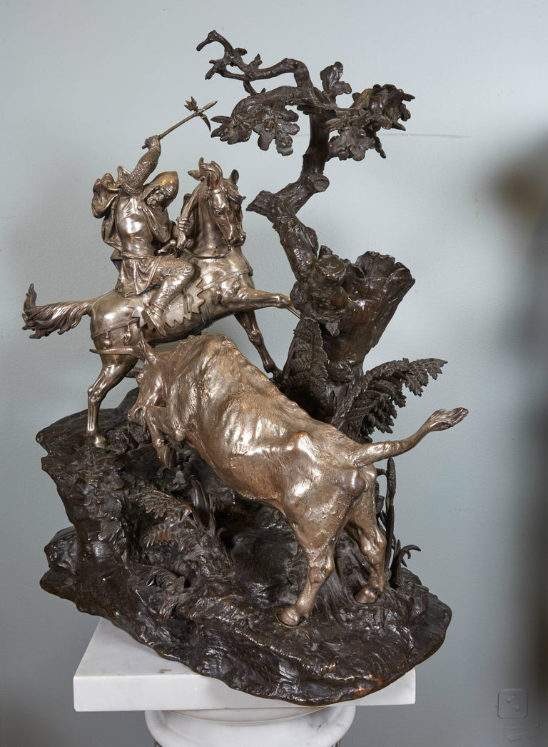 Monumental French Patinated and Silvered Bronze Figural Group of Soldier & Bull For Sale 1