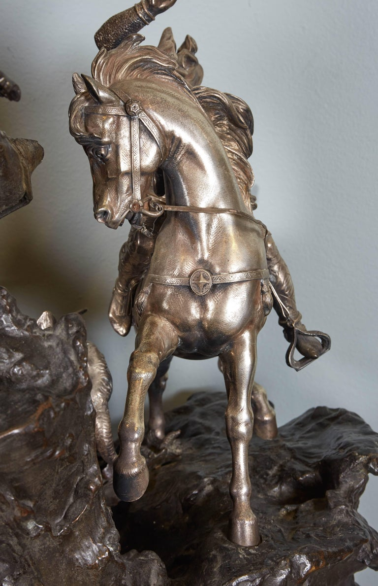 Monumental French Patinated and Silvered Bronze Figural Group of Soldier & Bull For Sale 3