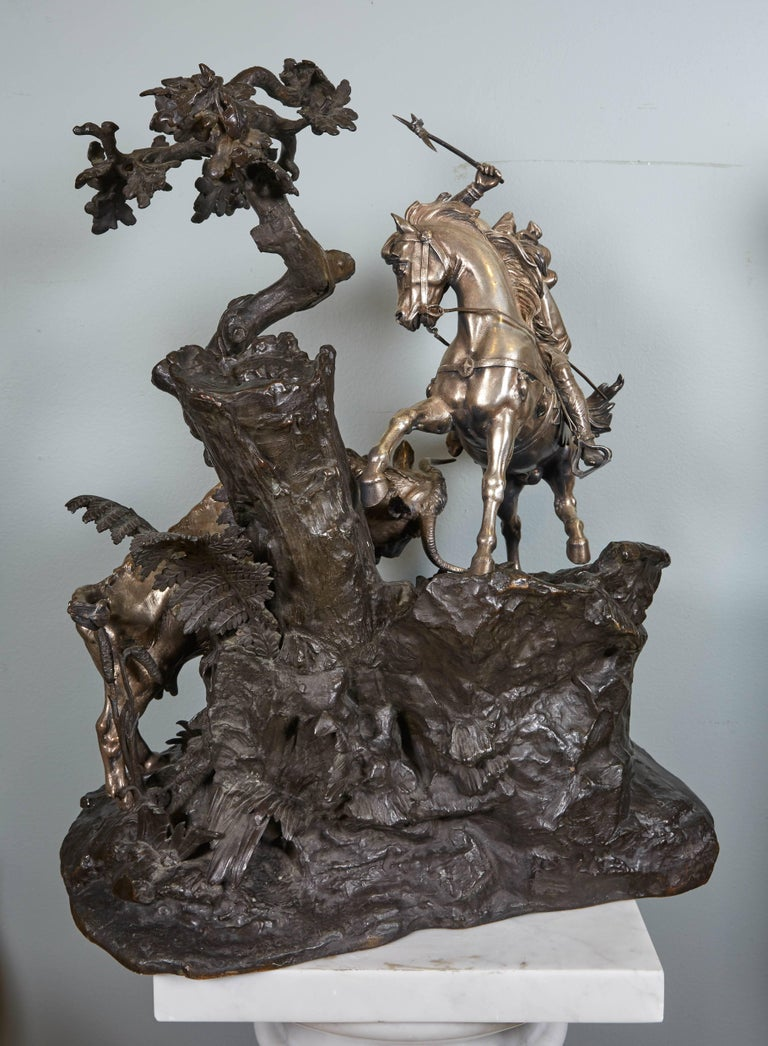 Monumental French Patinated and Silvered Bronze Figural Group of Soldier & Bull For Sale 4