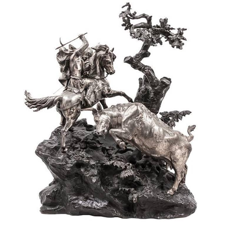 Monumental French Patinated and Silvered Bronze Figural Group of Soldier & Bull For Sale