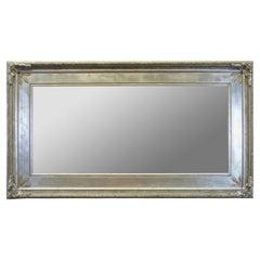 Monumental French Silver Full Length Modern Dressing Mirror Mantel Floor