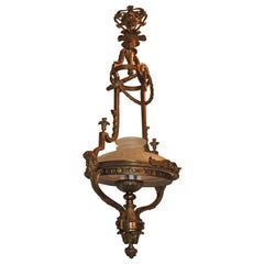 Monumental French Victorian Gilt Bronze Frosted Globe Chandelier Fixture Lantern