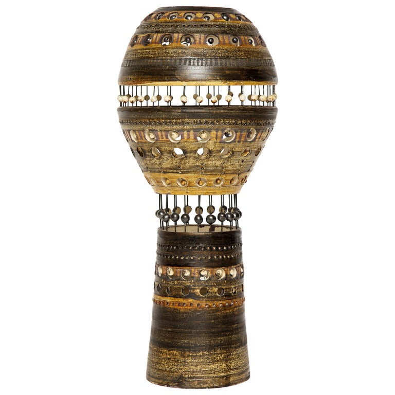 Monumental Georges Pelletier Ceramic Lamp with Pearl Detailing, 1970s, France