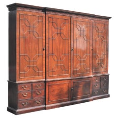 Monumental Georgian Antique Mahogany Breakfront Bibliotheque Library Bookcase