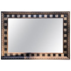 Monumental Gigantic Rectangular Checkerboard Mirror with Silver and Gold