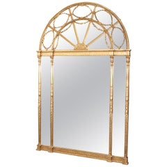 Monumental Gilded Arched Decorative Arts Neoclassical Wall Mantle Mantel Mirror